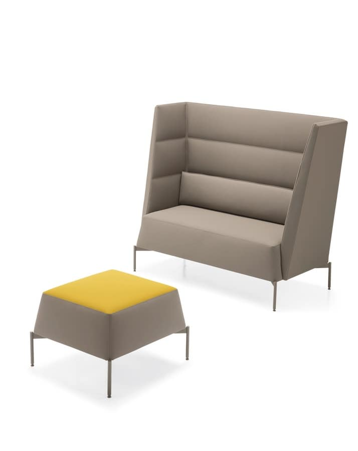 Kendo sofa high backrest, Sofa ideal for acoustic insulation, with high backrest