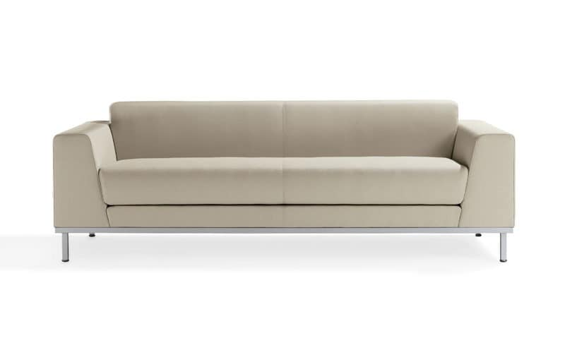 Komodo, Upholstered modern sofa, with steel base, for Reception