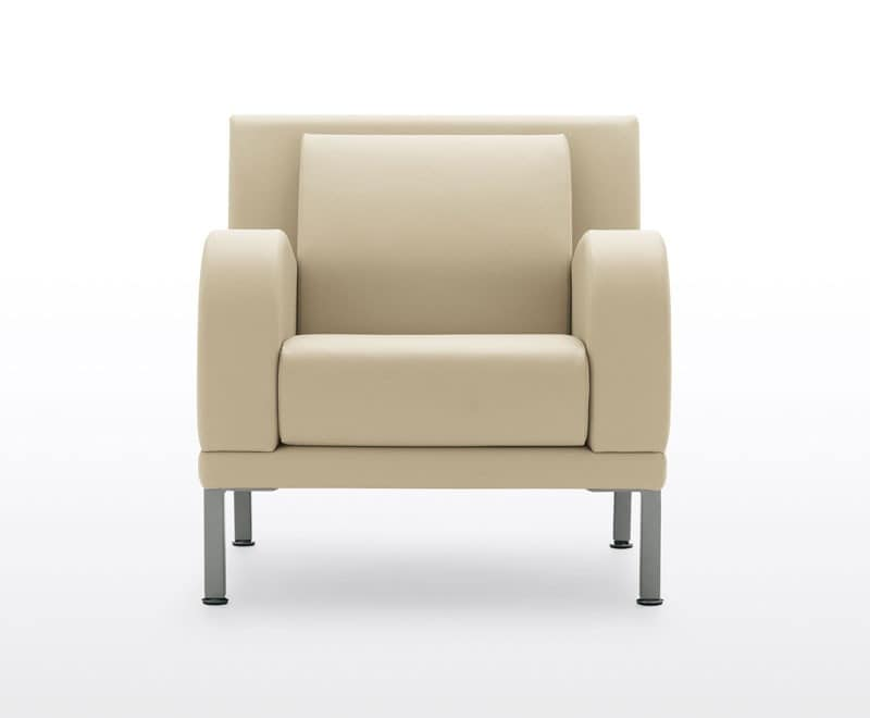 Kristall, 3 seater sofa with steel feet, for waiting areas