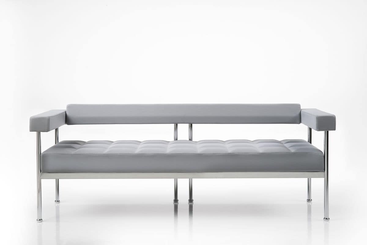 Qubiq 3p, 3 seater sofa for waiting areas, visible structure
