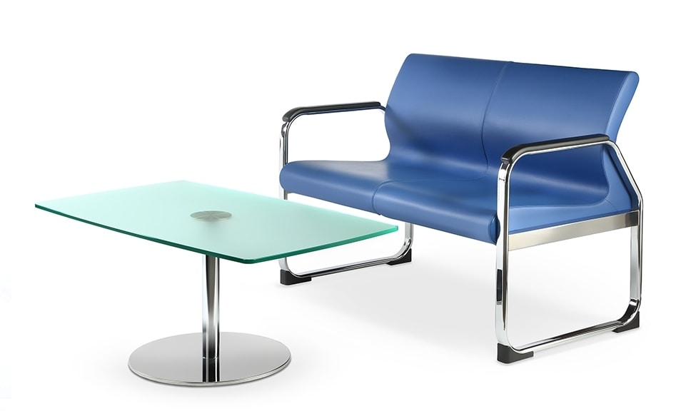 ONE 402 A, Sofa with metal base, ideal for waiting rooms