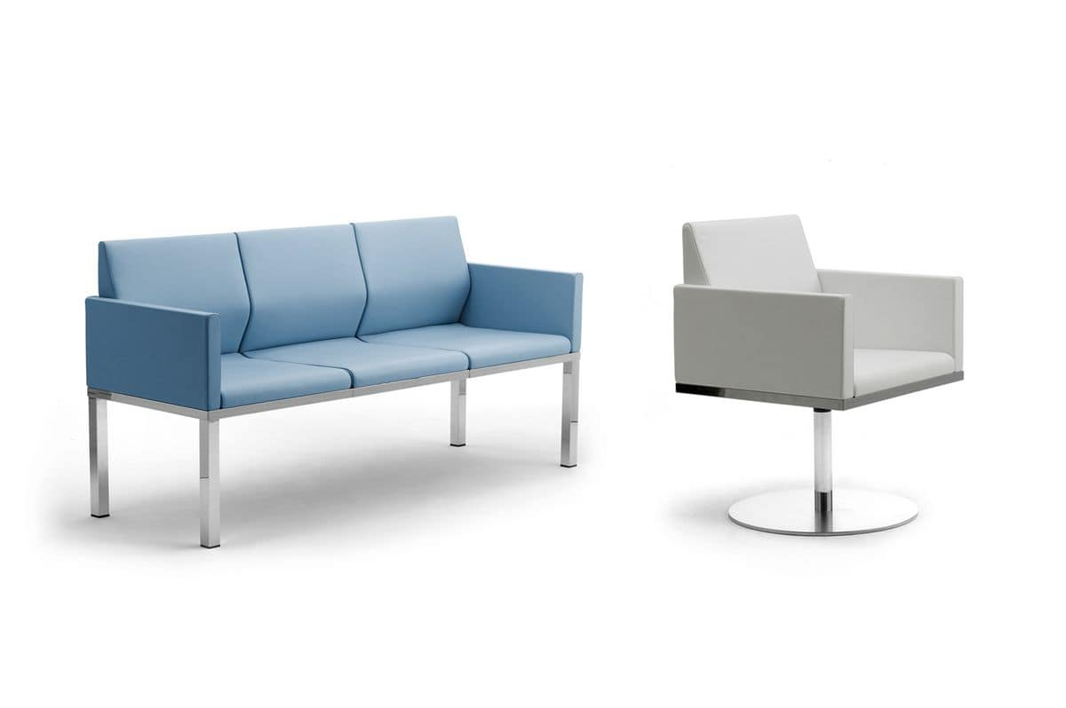 Tre-Di 3 seats sofa with padded armrests 99903, 3-seater sofa for waiting rooms and offices