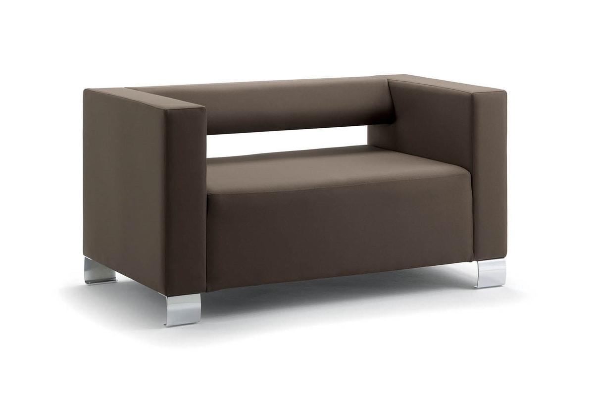 UF 149 UF 150, Squared sofa with chrome legs, essential