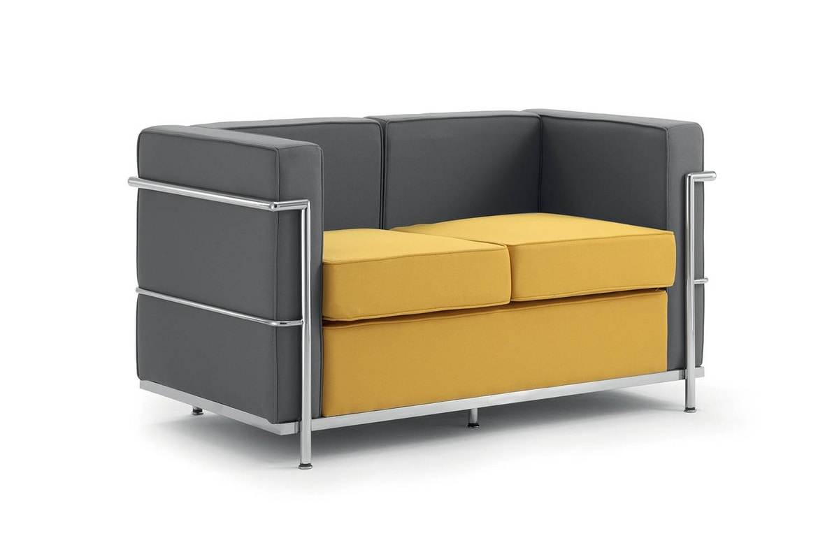 UF 161 - Replica, 2 seater sofa, metal frame, padded, for Receptions