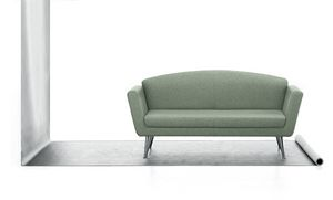 Wing 02, 2 seater sofa, upholstered in polyurethane, steel base