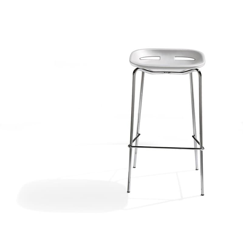 Klou, Metal barstool, adjustable in height, flame retardant