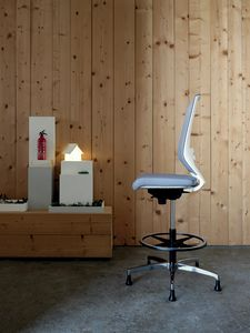 Logica White Stool 01, White stool for elegant offices
