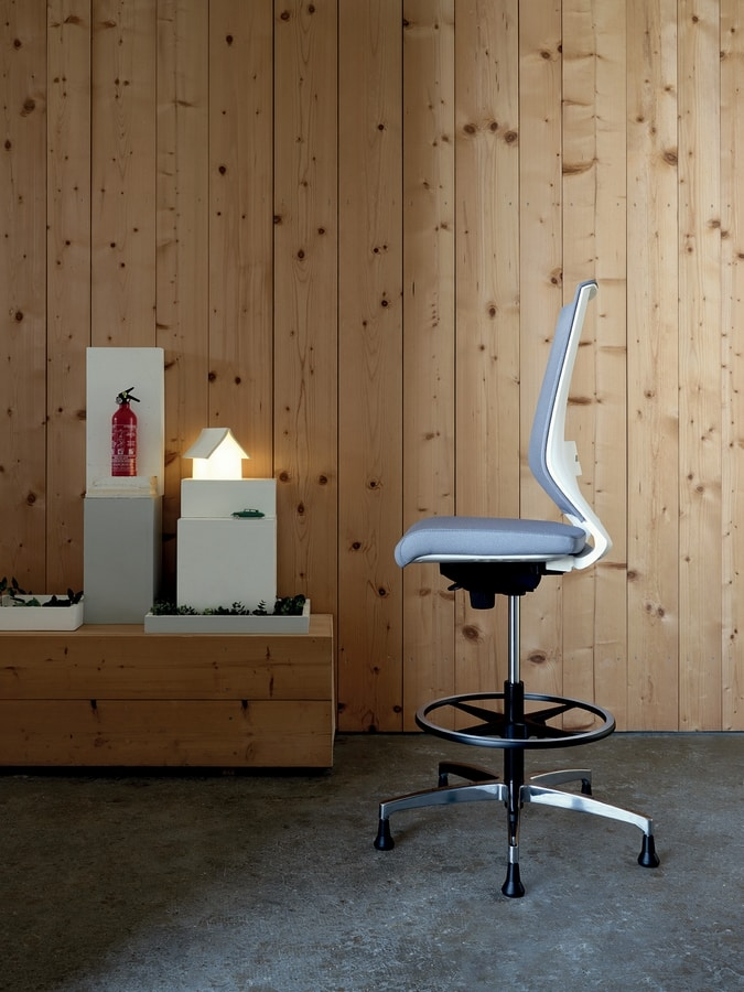 Logica White Stool 01, White stool for elegant offices