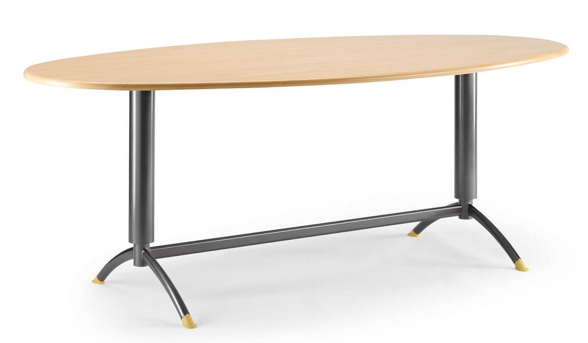 KOMBY 947, Table with lacquered metal base, laminate top