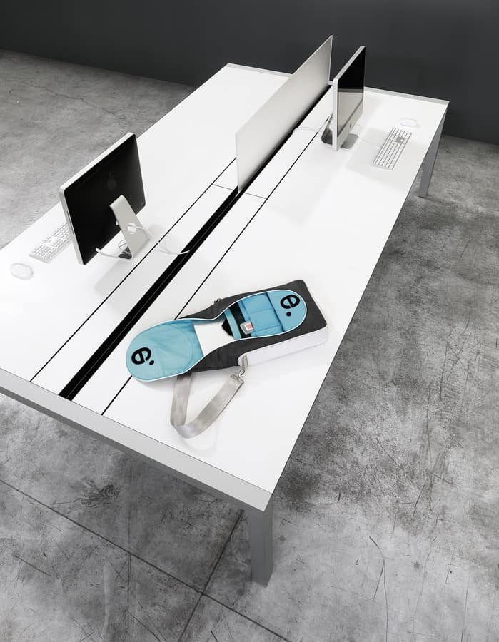 Sushi Workstation, Office table with accessories, with cable guide