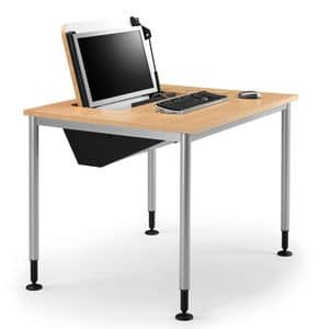 SYSTEM 789, Table with feet adjustable, retractable PC storage