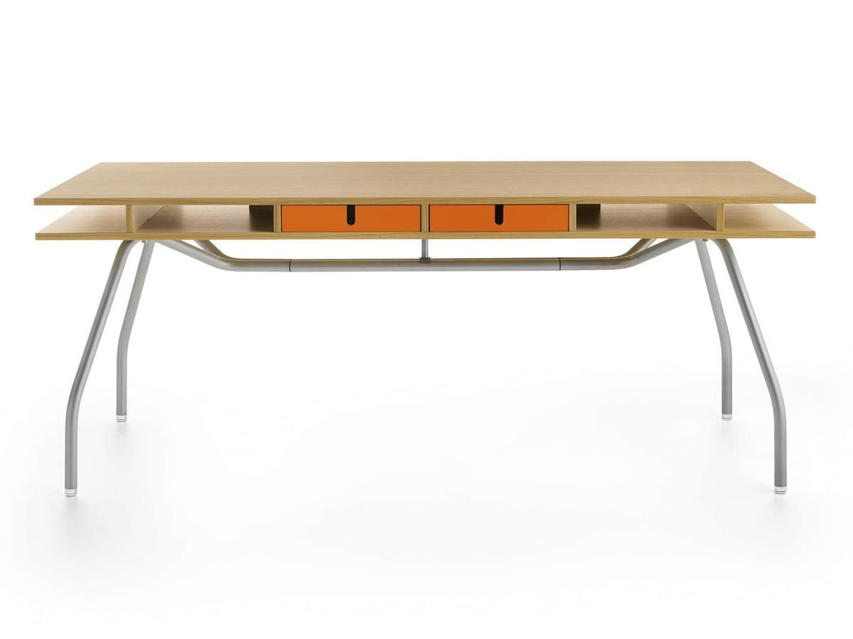 Worktop 185, Writing desk with wooden drawers