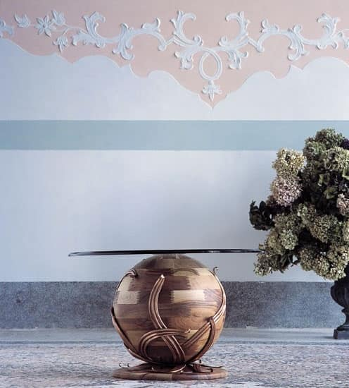 Zeus, Coffee table with spherical base in solid walnut, glass top