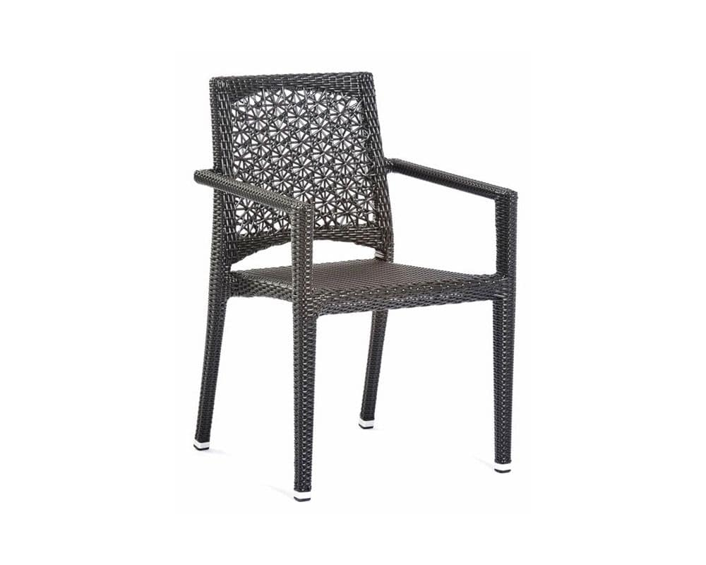 Altea chair with arms, Outdoor chair with armrests, weaving in synthetic fiber