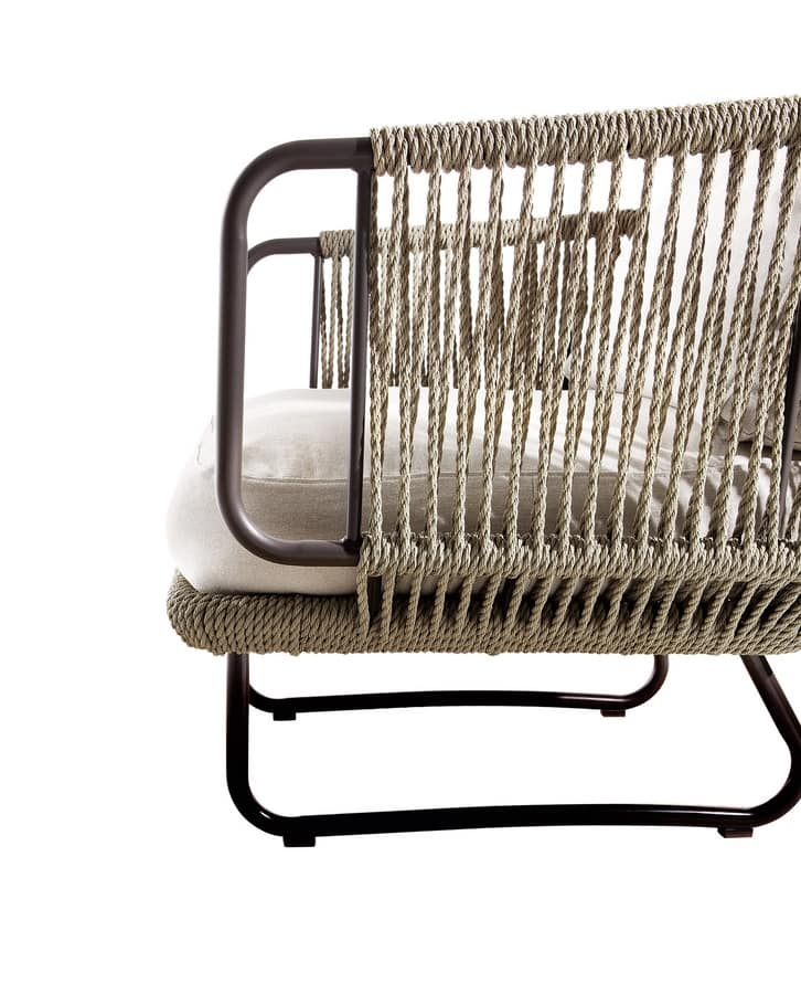 Babylon armchair, Armchair covered in synthetic rope, for outdoors
