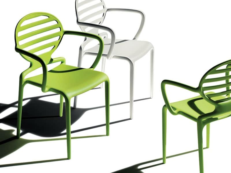 Cokka chair, Stackable chair with armrests, for outdoor