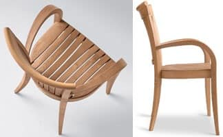 Harmony armchair, Modern chair with armrests, in wood, for garden