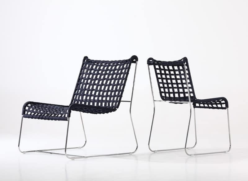 In/Out LO, Linear lounge chair, seat in woven rope, for indoor and outdoor