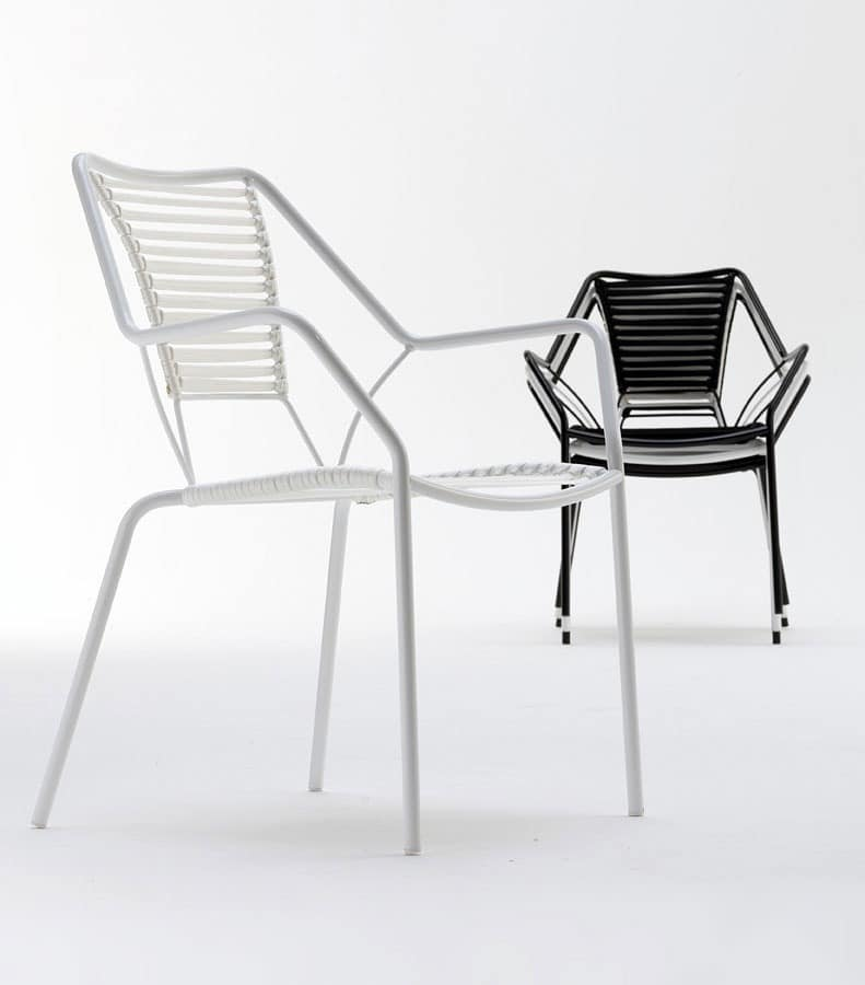 Knit Knot new armchair, Armchair for outdoor, weaving in nautical rope, elegant but slight