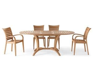 Mirage armchair, Wooden armchair with armrests, for outside
