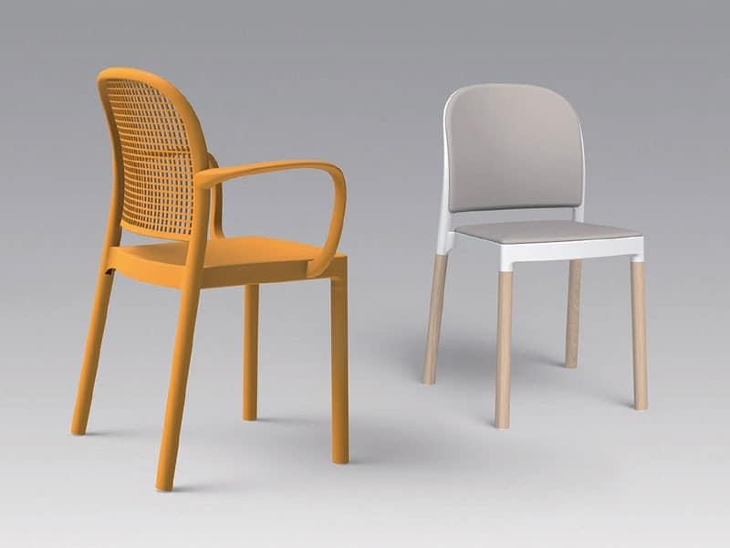 Panama A, Chair with armrests, stackable, for outdoor use