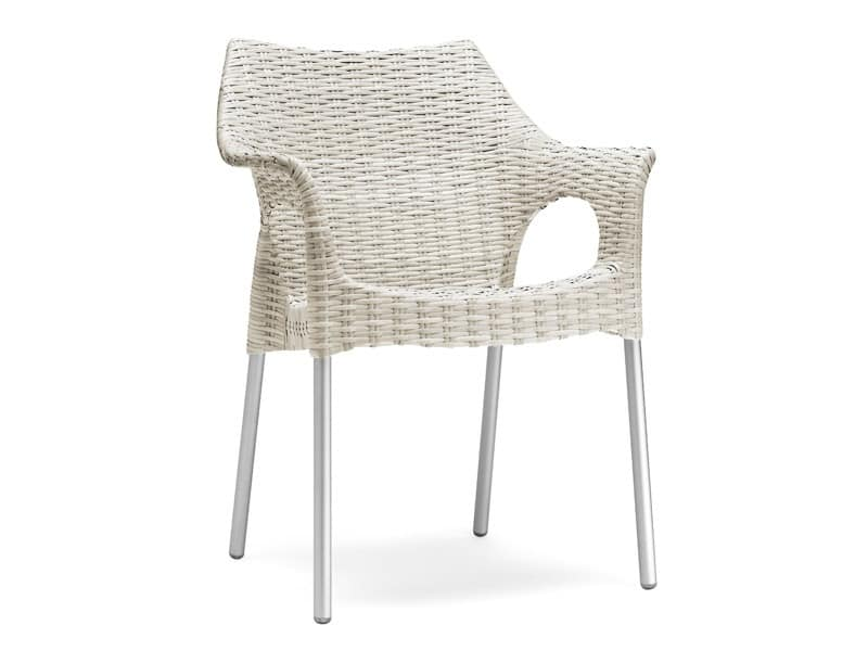 PL 2277, Armchair with fake interlacing, for exterior and ice cream parlor