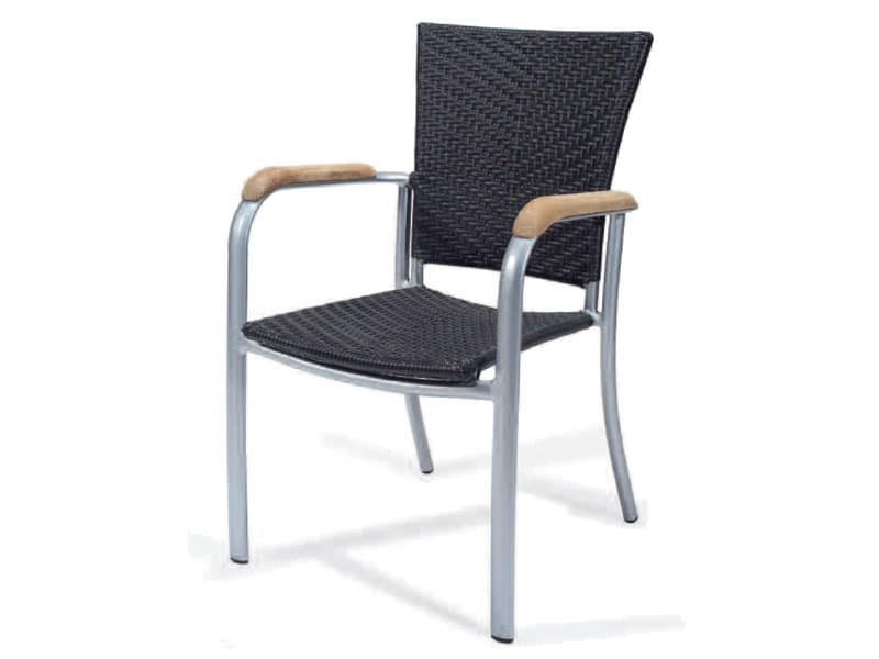 PL 400, Woven chair with armrests, in aluminum, wood trim