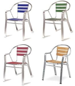 PL 414, Resistant aluminum chairs, for ice cream shop