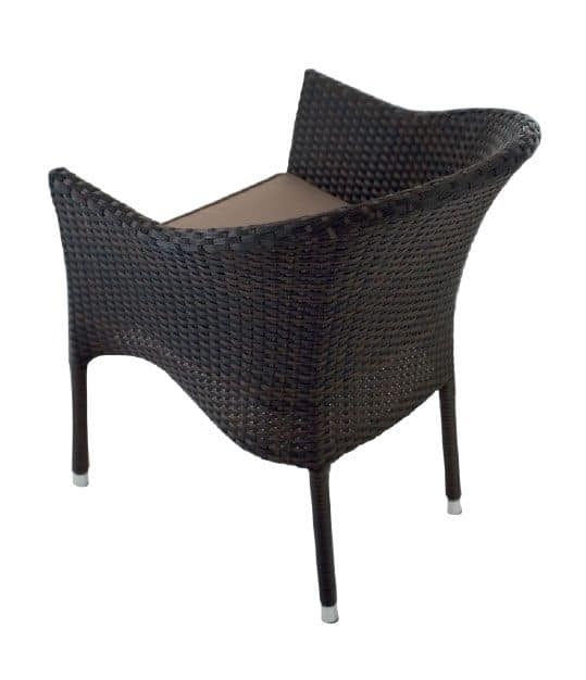 PL 776M, Modern armchair in woven PVC, for bars