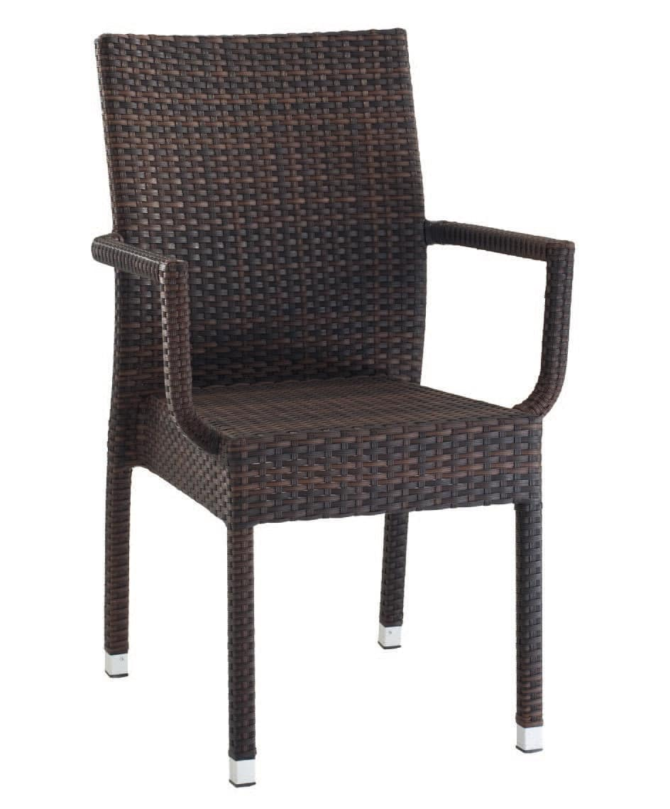 PL 900, Modern stackable chair with armrests, for ice cream parlors