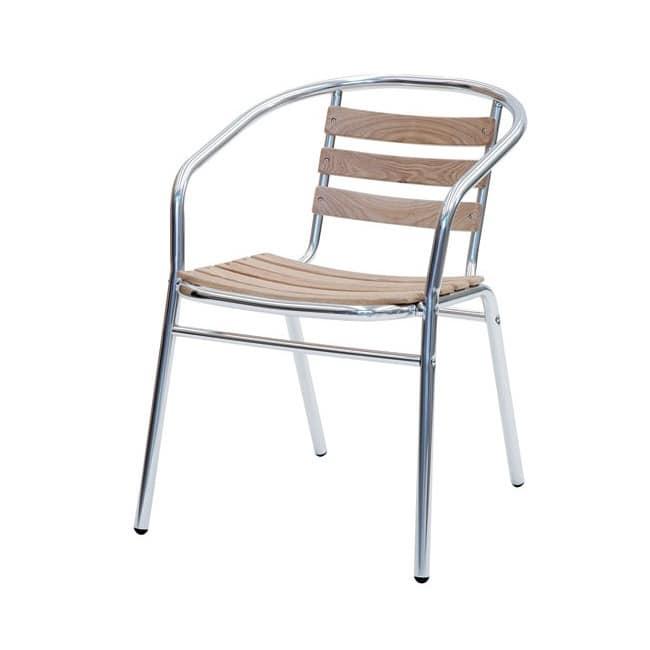 Sd est 2, Chair in aluminum and teak planks, for Garden