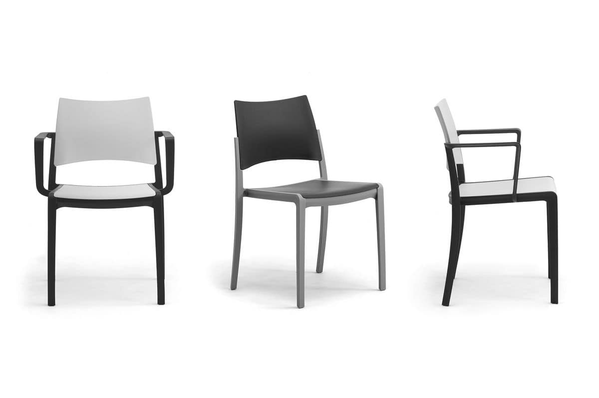 Staky, Stackable chair with seat and backrest in polypropylene