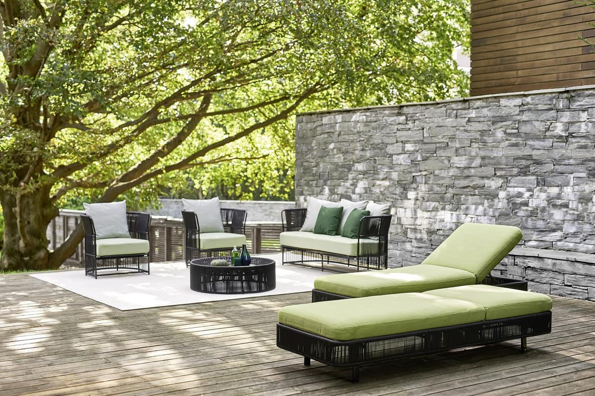 Tibidabo armchair, Modern armchair, weaving in synthetic fiber, for outdoors
