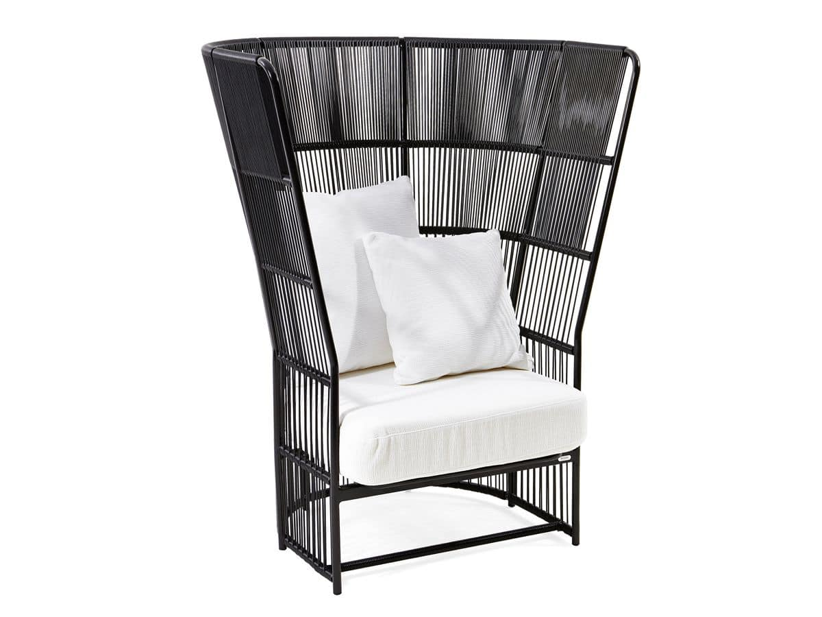 Tibidabo high armchair, Armchair with high backrest, woven, for outdoor use