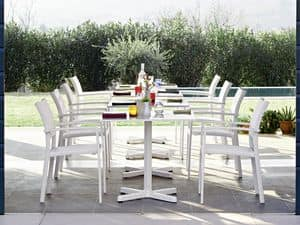 Victor chair with arms, Chair with armrests, in aluminum, for gardens and terraces