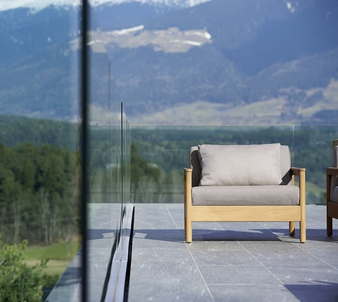 Bali armchair, Upholstered wooden armchair for outdoors