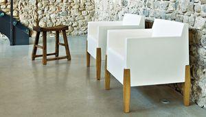 Kubrik, Design armchair in wood and plastic