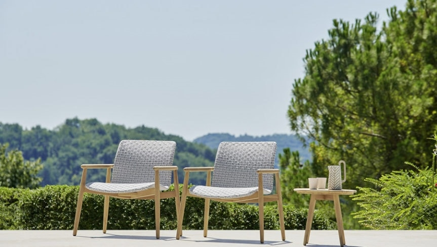 Lapis lounge chair, Outdoor armchair with wide seat