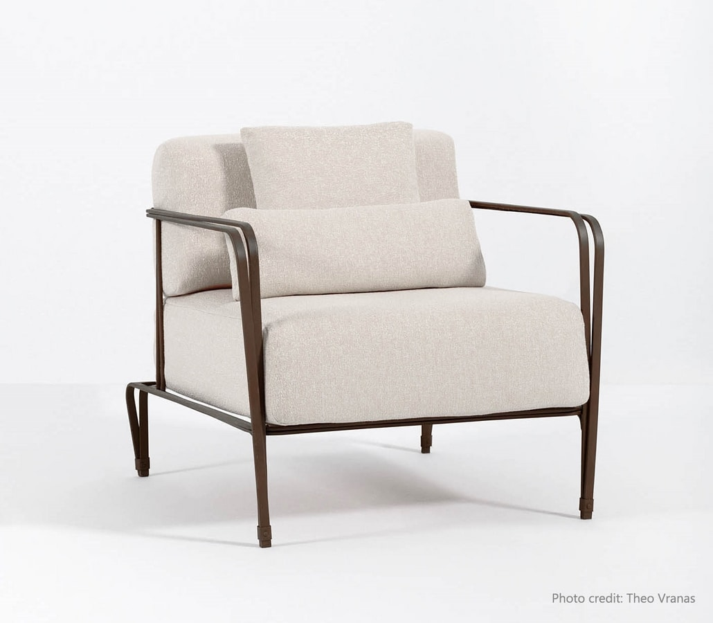 MARINA GF4029AR, Forged iron armchair, for outdoors and indoors