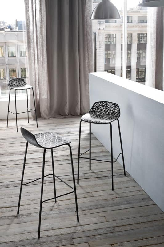 Alhambra Stool 67, Barstool in painted steel tubing, polymer seat