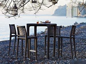 Altea stool, Woven stool, aluminium structure, for outdoor environments