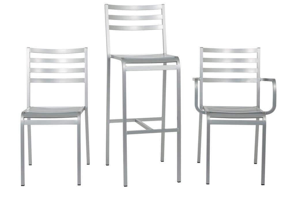 Art.Macrì Outdoor barstool, Aluminium barstool for outdoor use, horizontal slats