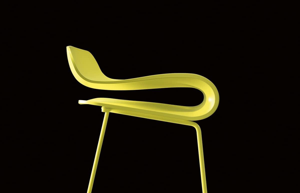 BCN Slide Base, Design stool in steel rod and plastic PBT