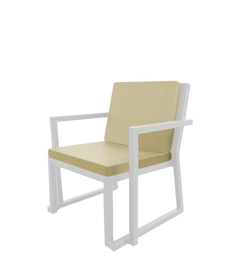 Bell - PL, Aluminum armchair suitable for outdoors