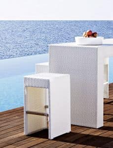 Cora bar stool, Woven stool, aluminium framen, for outdoors