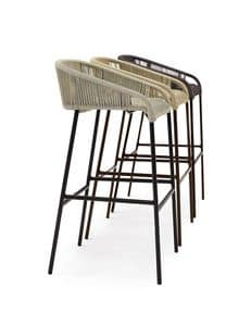 Cricket stool, Stool in hand-woven synthetic fiber, for outdoor