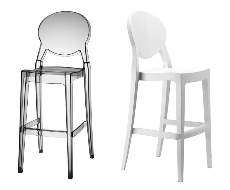 Igloo barstool, Tall stool made of polycarbonate, stackable, for outdoors