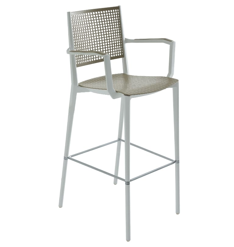 Kalipa ST B, Stackable stool with armrests, for garden