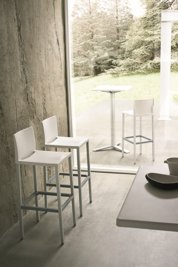 Liberty cod. 26/75, Lightweight barstool in aluminum and polymer for hotel