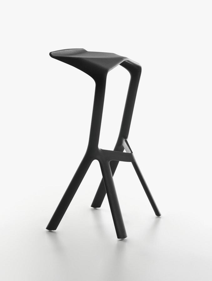 Miura I Stool 8200-00, High design barstool in polypropylene, for outdoors